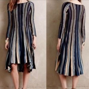 Anthro Moth M Sweater Dress NORA Blue Brown Stripe
